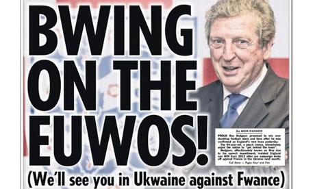 The Sun's Roy Hodgson headline